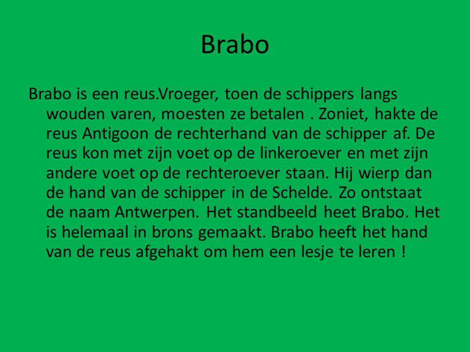 Brabo is een reus.Vroeger, toen de schippers langs wouden varen, moesten ze betalen.