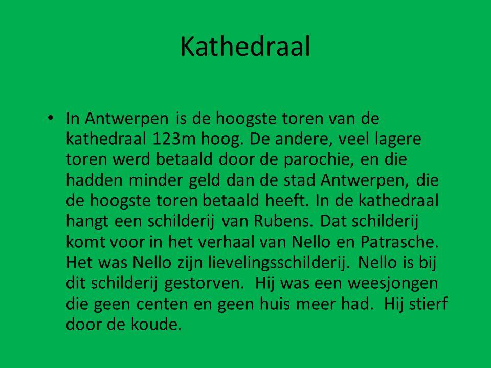 • In Antwerpen is de hoogste toren van de kathedraal 123m hoog. De andere, veel lagere toren werd betaald door de parochie, en die hadden minder geld
