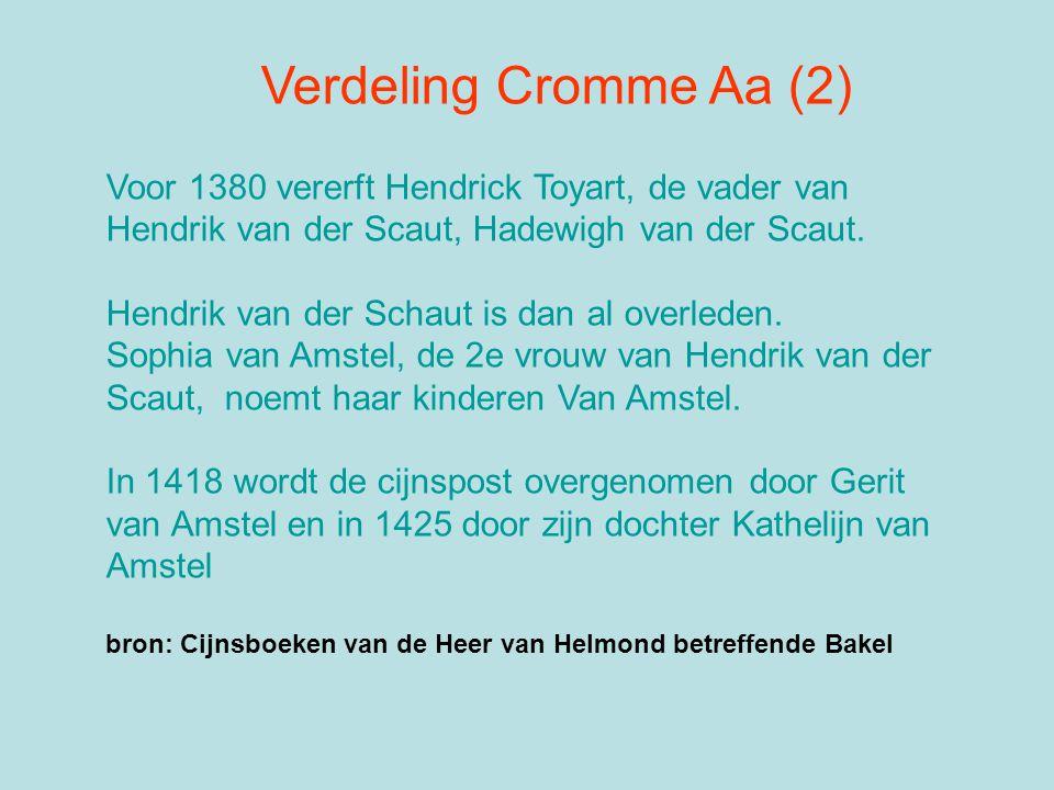 Verdeling Cromme Aa (2) Voor 1380 vererft Hendrick Toyart, de vader van Hendrik van der Scaut, Hadewigh van der Scaut. Hendrik van der Schaut is dan a