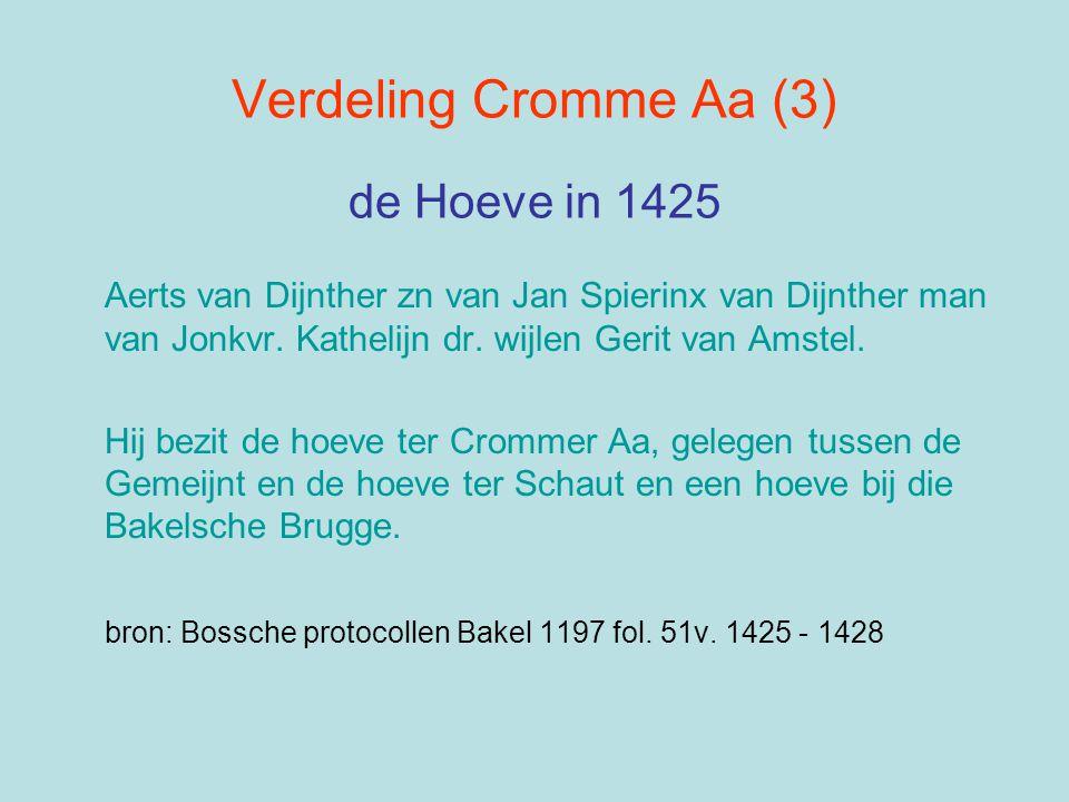 Verdeling Cromme Aa (3) de Hoeve in 1425 Aerts van Dijnther zn van Jan Spierinx van Dijnther man van Jonkvr. Kathelijn dr. wijlen Gerit van Amstel. Hi