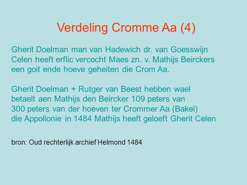 Verdeling Cromme Aa (4) Gherit Doelman man van Hadewich dr. van Goesswijn Celen heeft erflic vercocht Maes zn. v. Mathijs Beirckers een goit ende hoev