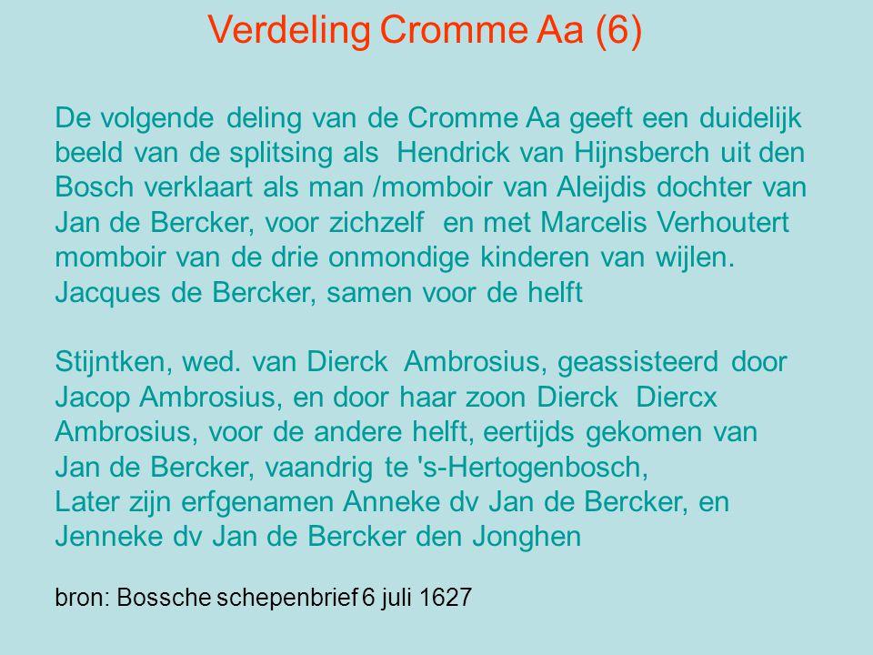 Verdeling Cromme Aa (6) De volgende deling van de Cromme Aa geeft een duidelijk beeld van de splitsing als Hendrick van Hijnsberch uit den Bosch verkl
