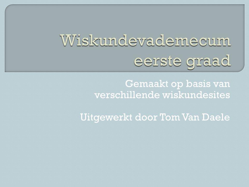 Gemaakt op basis van verschillende wiskundesites Uitgewerkt door Tom Van Daele