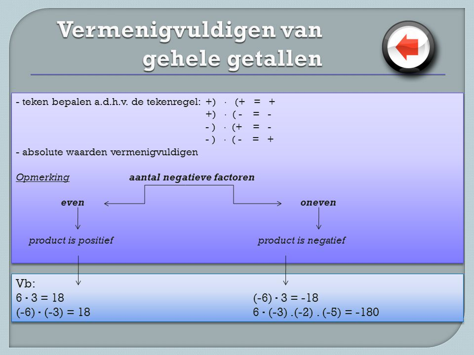 - teken bepalen a.d.h.v. de tekenregel: +)  (+ = + +)  ( - = - - )  (+ = - - )  ( - = + - absolute waarden vermenigvuldigen Opmerking aantal negat