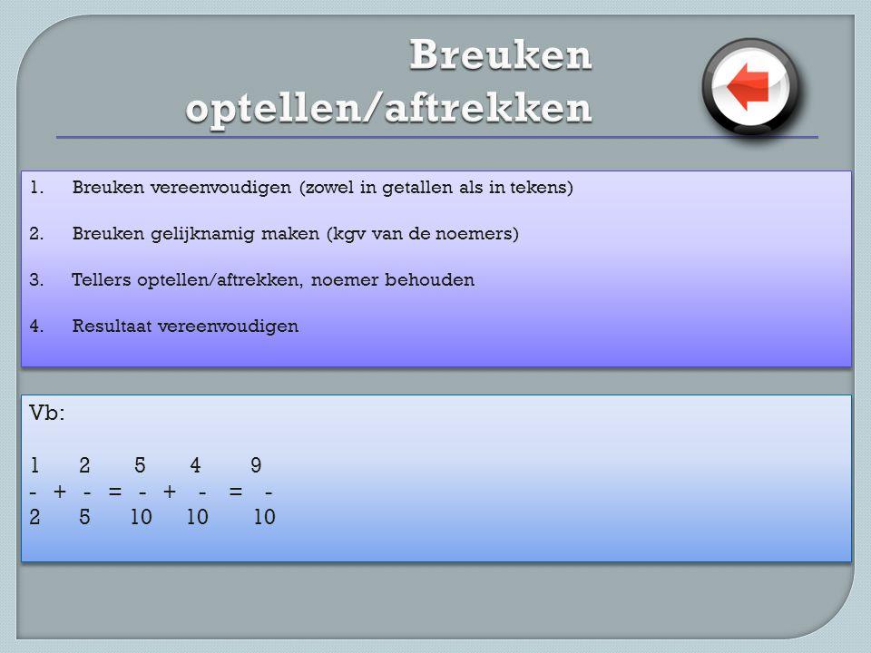 1. Breuken vereenvoudigen (zowel in getallen als in tekens) 2. Breuken gelijknamig maken (kgv van de noemers) 3. Tellers optellen/aftrekken, noemer be