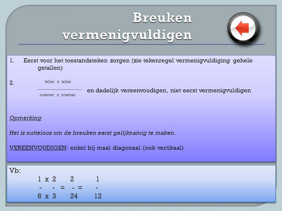 1. Eerst voor het toestandsteken zorgen (zie tekenregel vermenigvuldiging gehele getallen) 2. teller x teller ------------------------------ en dadeli