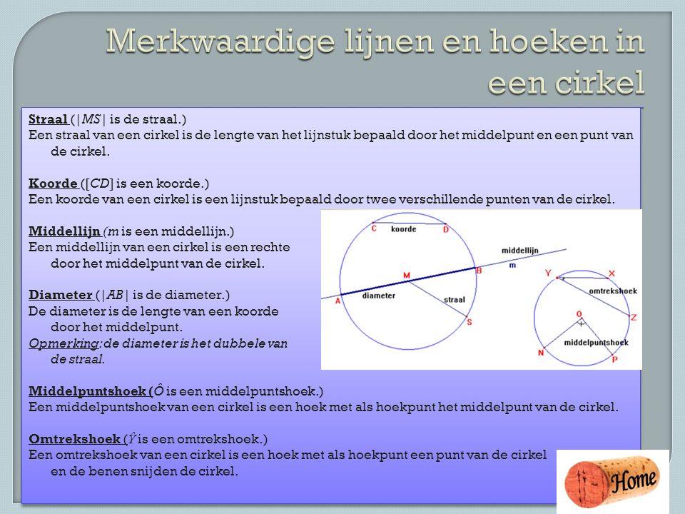 Straal (|MS| is de straal.) Een straal van een cirkel is de lengte van het lijnstuk bepaald door het middelpunt en een punt van de cirkel. Koorde ([CD
