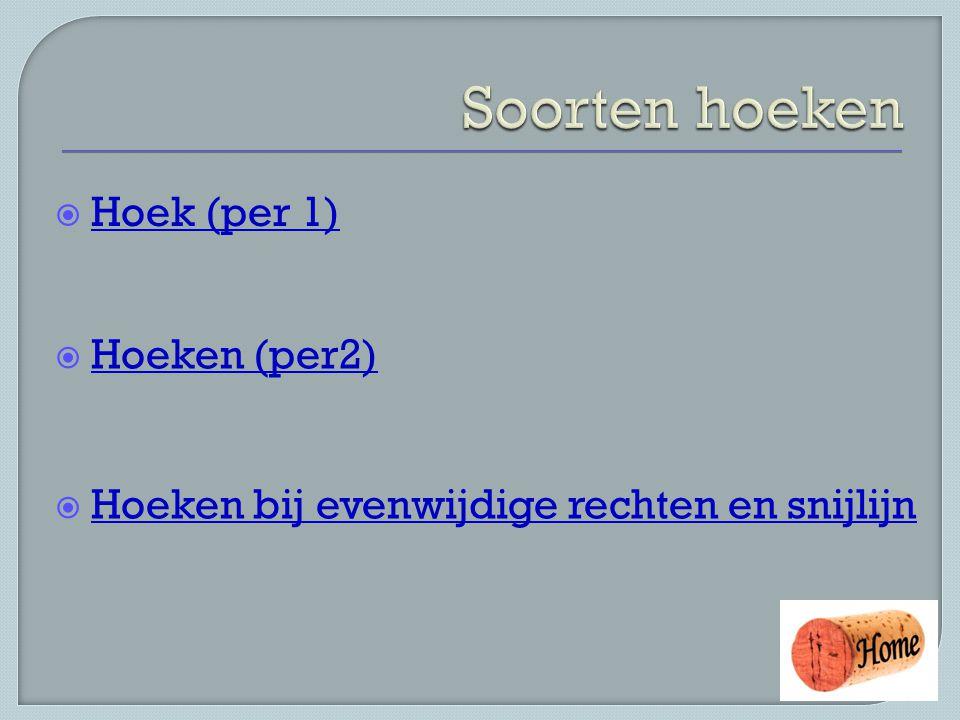  Hoek (per 1) Hoek (per 1)  Hoeken (per2) Hoeken (per2)  Hoeken bij evenwijdige rechten en snijlijn Hoeken bij evenwijdige rechten en snijlijn