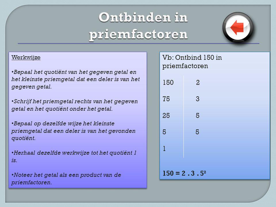 Werkwijze • Ontbind elk getal in priemfactoren • Maak het product van de gemeenschappelijke priemfactoren, elk met hun kleinste exponent.