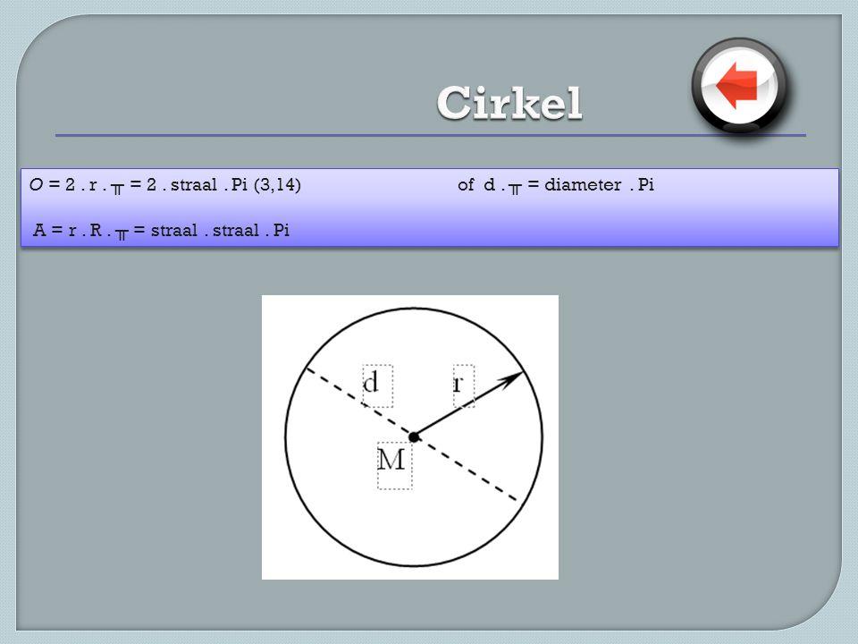 O = 2. r. ╥ = 2. straal. Pi (3,14)of d. ╥ = diameter. Pi A = r. R. ╥ = straal. straal. Pi O = 2. r. ╥ = 2. straal. Pi (3,14)of d. ╥ = diameter. Pi A =