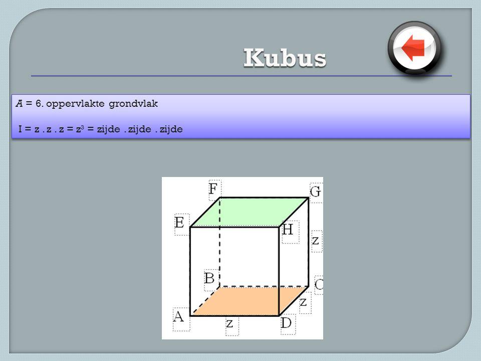 A = 6. oppervlakte grondvlak I = z. z. z = z³ = zijde. zijde. zijde A = 6. oppervlakte grondvlak I = z. z. z = z³ = zijde. zijde. zijde