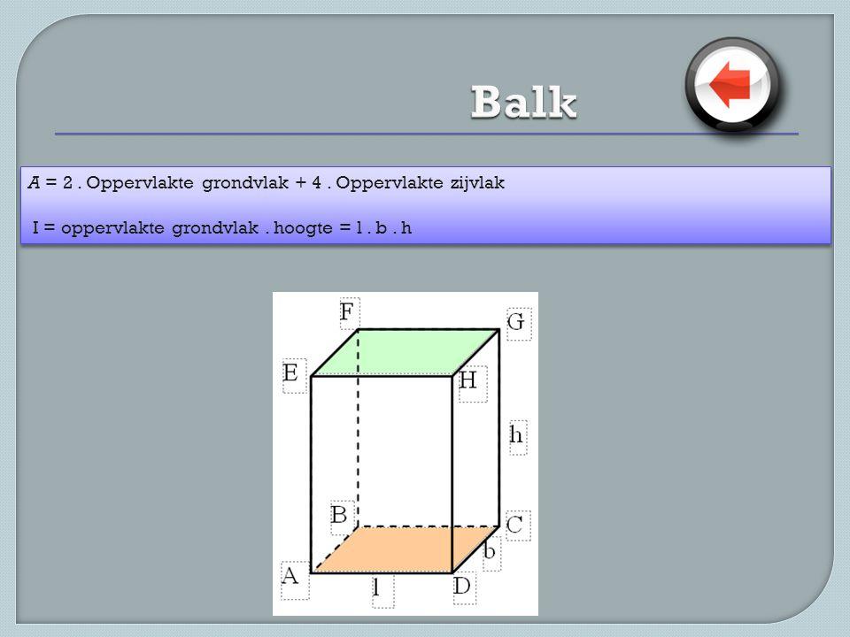 A = 2. Oppervlakte grondvlak + 4. Oppervlakte zijvlak I = oppervlakte grondvlak. hoogte = l. b. h A = 2. Oppervlakte grondvlak + 4. Oppervlakte zijvla