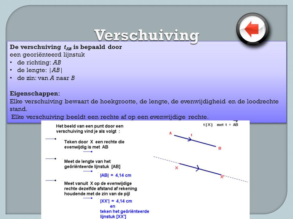De verschuiving t AB is bepaald door een georiënteerd lijnstuk • de richting: AB • de lengte:  AB  • de zin: van A naar B Eigenschappen: Elke verschuiving bewaart de hoekgrootte, de lengte, de evenwijdigheid en de loodrechte stand.