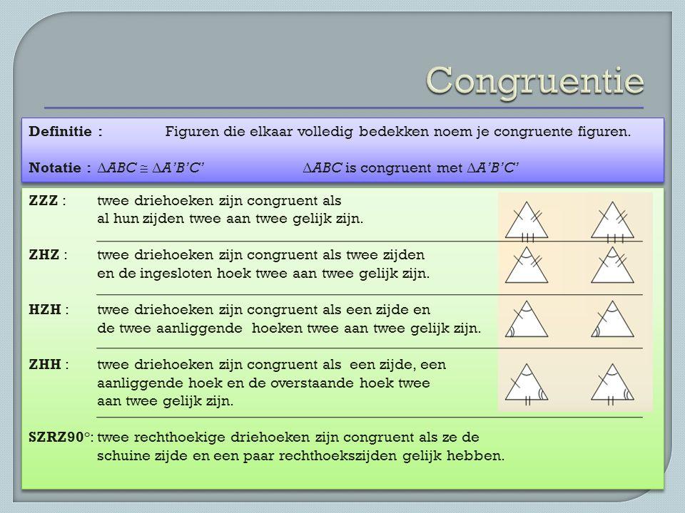 Definitie : Figuren die elkaar volledig bedekken noem je congruente figuren. Notatie : Δ ABC  Δ A'B'C' Δ ABC is congruent met Δ A'B'C' Definitie : Fi