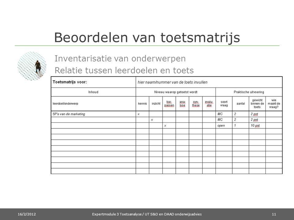 Beoordelen van toetsmatrijs 16/2/2012Expertmodule 3 Toetsanalyse / UT S&O en DAAD onderwijsadvies11 Inventarisatie van onderwerpen Relatie tussen leerdoelen en toets