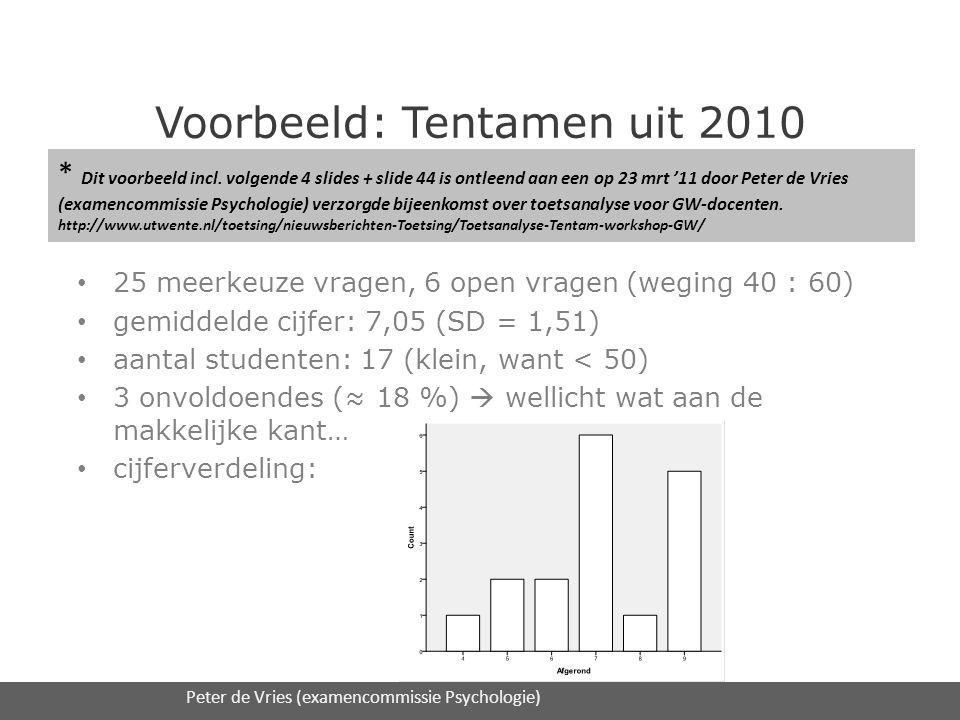 Voorbeeld: Tentamen uit 2010 • 25 meerkeuze vragen, 6 open vragen (weging 40 : 60) • gemiddelde cijfer: 7,05 (SD = 1,51) • aantal studenten: 17 (klein, want < 50) • 3 onvoldoendes (≈ 18 %)  wellicht wat aan de makkelijke kant… • cijferverdeling: 16/2/2012Expertmodule 3 Toetsanalyse / UT S&O en DAAD onderwijsadvies29 Peter de Vries (examencommissie Psychologie) * Dit voorbeeld incl.