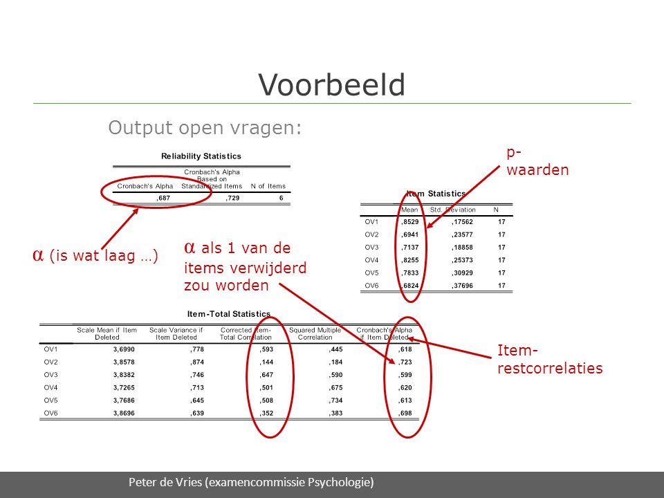 Voorbeeld Output open vragen: 16/2/2012Expertmodule 3 Toetsanalyse / UT S&O en DAAD onderwijsadvies α (is wat laag …) p- waarden Item- restcorrelaties