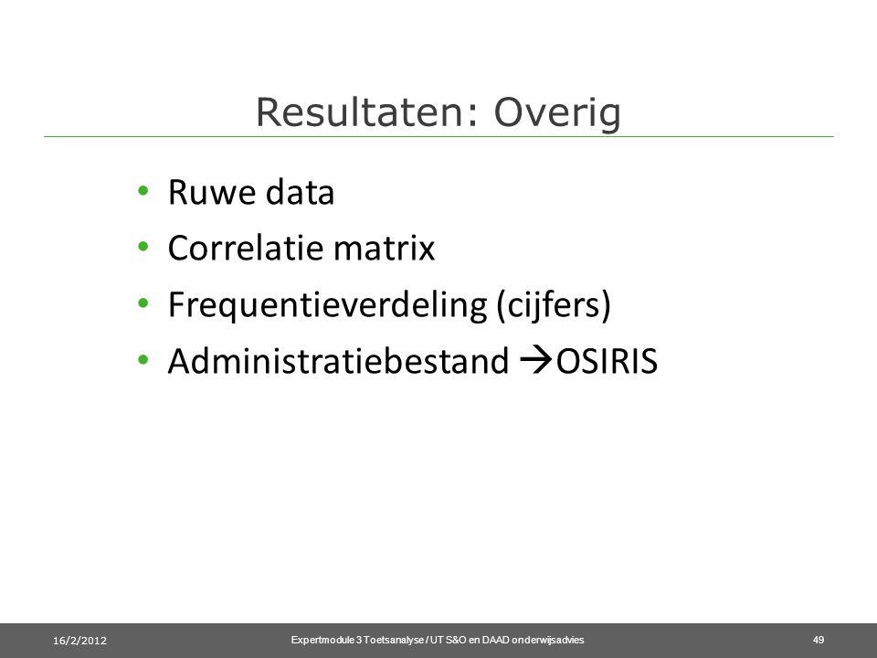 Resultaten: Overig 16/2/2012 Expertmodule 3 Toetsanalyse / UT S&O en DAAD onderwijsadvies49 • Ruwe data • Correlatie matrix • Frequentieverdeling (cijfers) • Administratiebestand  OSIRIS
