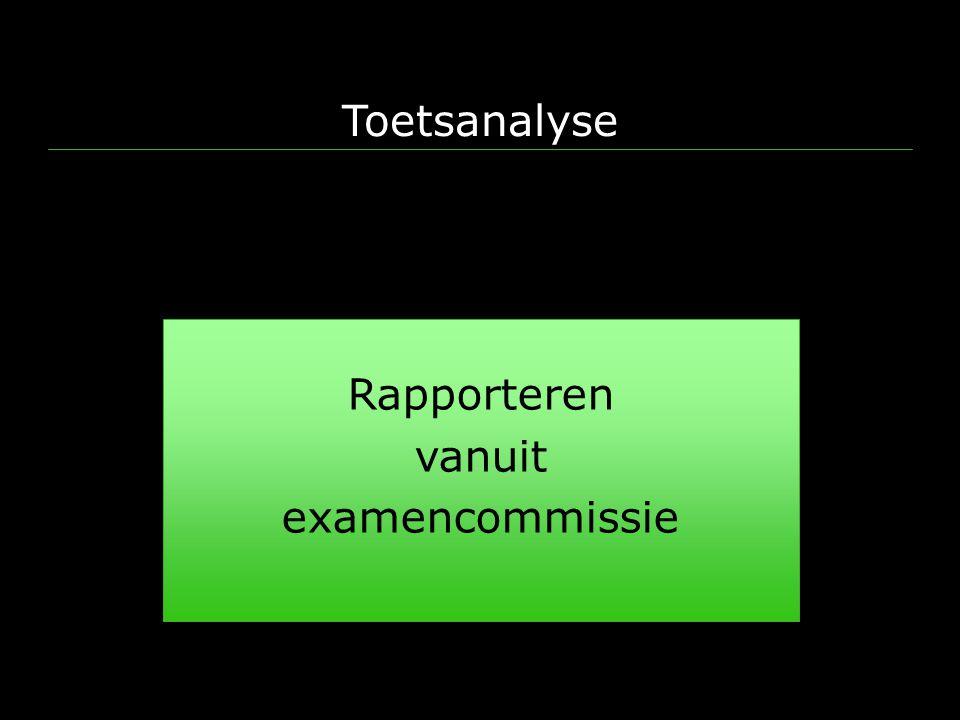 Toetsanalyse Rapporteren vanuit examencommissie