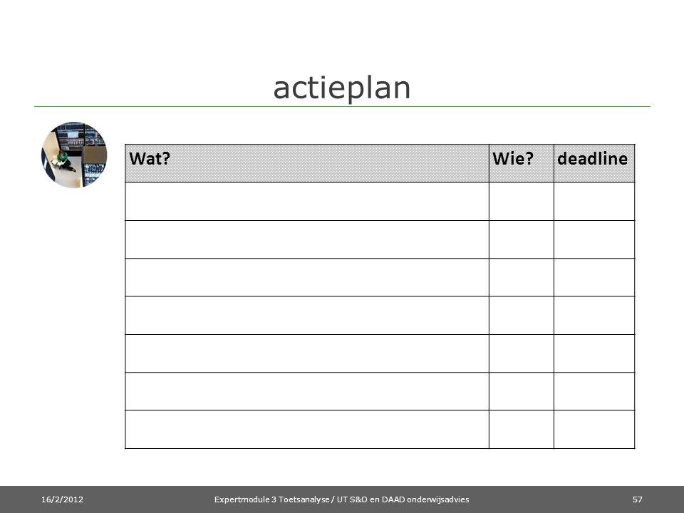 actieplan 16/2/2012Expertmodule 3 Toetsanalyse / UT S&O en DAAD onderwijsadvies57 Wat?Wie?deadline