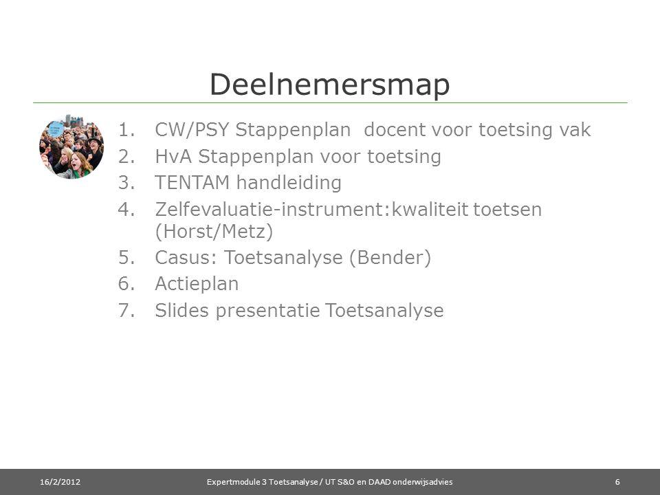 Deelnemersmap 1.CW/PSY Stappenplan docent voor toetsing vak 2.HvA Stappenplan voor toetsing 3.TENTAM handleiding 4.Zelfevaluatie-instrument:kwaliteit toetsen (Horst/Metz) 5.Casus: Toetsanalyse (Bender) 6.Actieplan 7.Slides presentatie Toetsanalyse 16/2/2012Expertmodule 3 Toetsanalyse / UT S&O en DAAD onderwijsadvies6