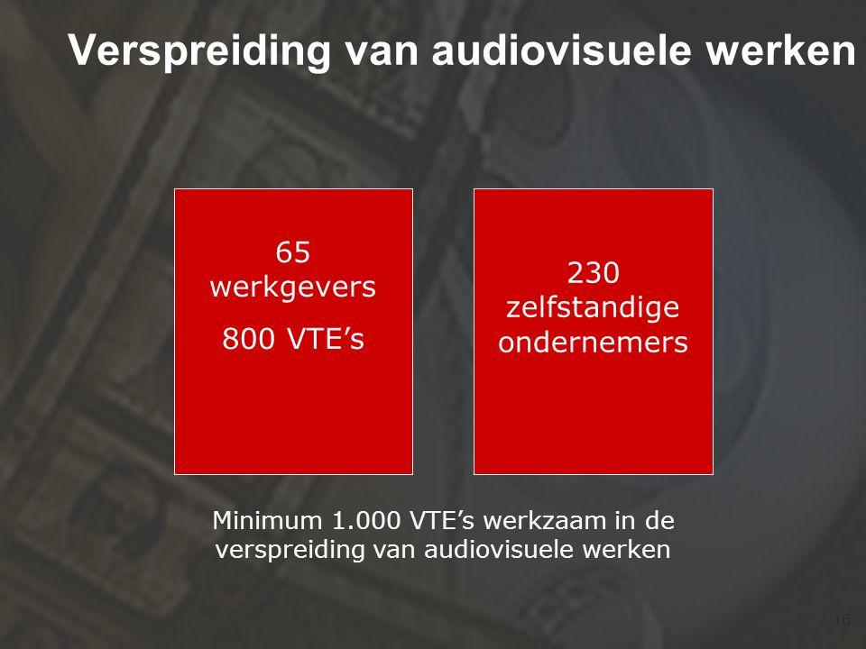 16 Verspreiding van audiovisuele werken 65 werkgevers 800 VTE's 230 zelfstandige ondernemers Minimum 1.000 VTE's werkzaam in de verspreiding van audiovisuele werken
