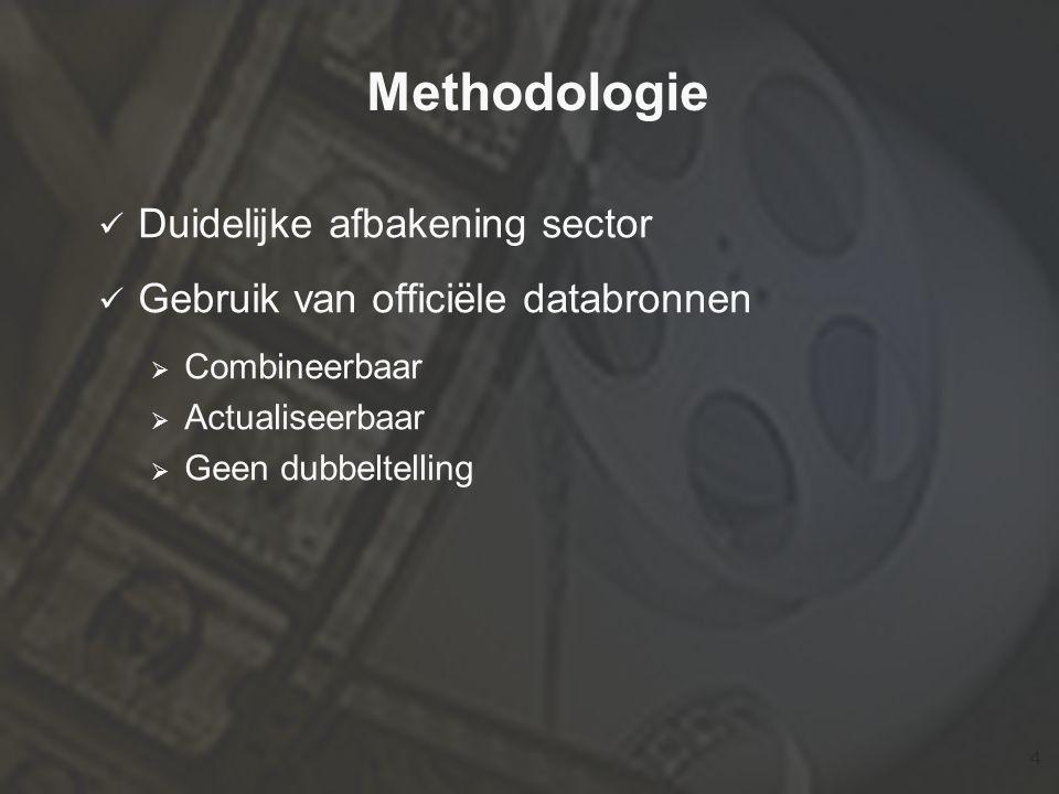 4 Methodologie  Duidelijke afbakening sector  Gebruik van officiële databronnen  Combineerbaar  Actualiseerbaar  Geen dubbeltelling