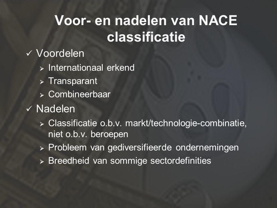8 Voor- en nadelen van NACE classificatie  Voordelen  Internationaal erkend  Transparant  Combineerbaar  Nadelen  Classificatie o.b.v.