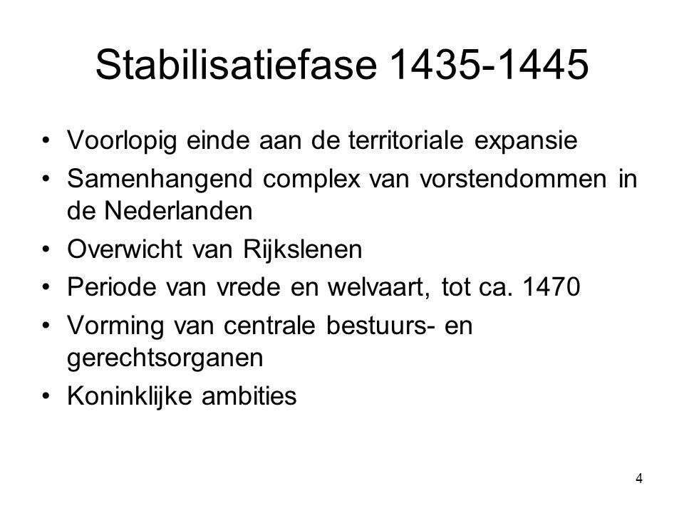 4 Stabilisatiefase 1435-1445 •Voorlopig einde aan de territoriale expansie •Samenhangend complex van vorstendommen in de Nederlanden •Overwicht van Ri