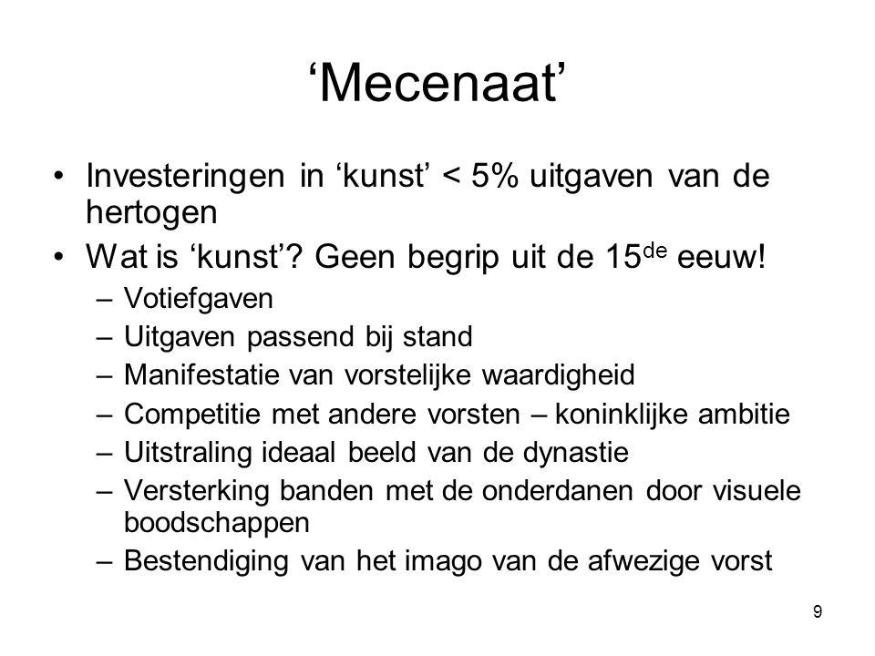 9 'Mecenaat' •Investeringen in 'kunst' < 5% uitgaven van de hertogen •Wat is 'kunst'? Geen begrip uit de 15 de eeuw! –Votiefgaven –Uitgaven passend bi