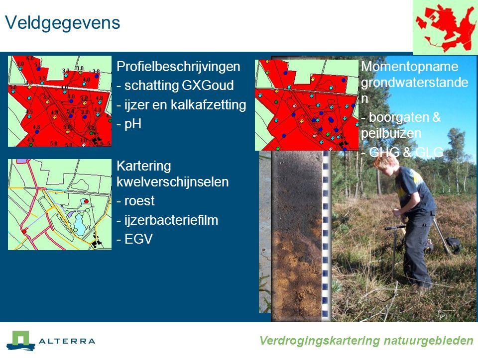 Verdrogingskartering natuurgebieden Veldgegevens Profielbeschrijvingen - schatting GXGoud - ijzer en kalkafzetting - pH Kartering kwelverschijnselen - roest - ijzerbacteriefilm - EGV Momentopname grondwaterstande n - boorgaten & peilbuizen - GHG & GLG
