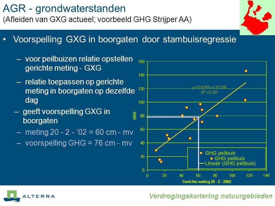 Verdrogingskartering natuurgebieden AGR - grondwaterstanden (Afleiden van GXG actueel; voorbeeld GHG Strijper AA) •Voorspelling GXG in boorgaten door stambuisregressie –voor peilbuizen relatie opstellen gerichte meting - GXG –relatie toepassen op gerichte meting in boorgaten op dezelfde dag –geeft voorspelling GXG in boorgaten –meting 20 - 2 - '02 = 60 cm - mv –voorspelling GHG = 76 cm - mv
