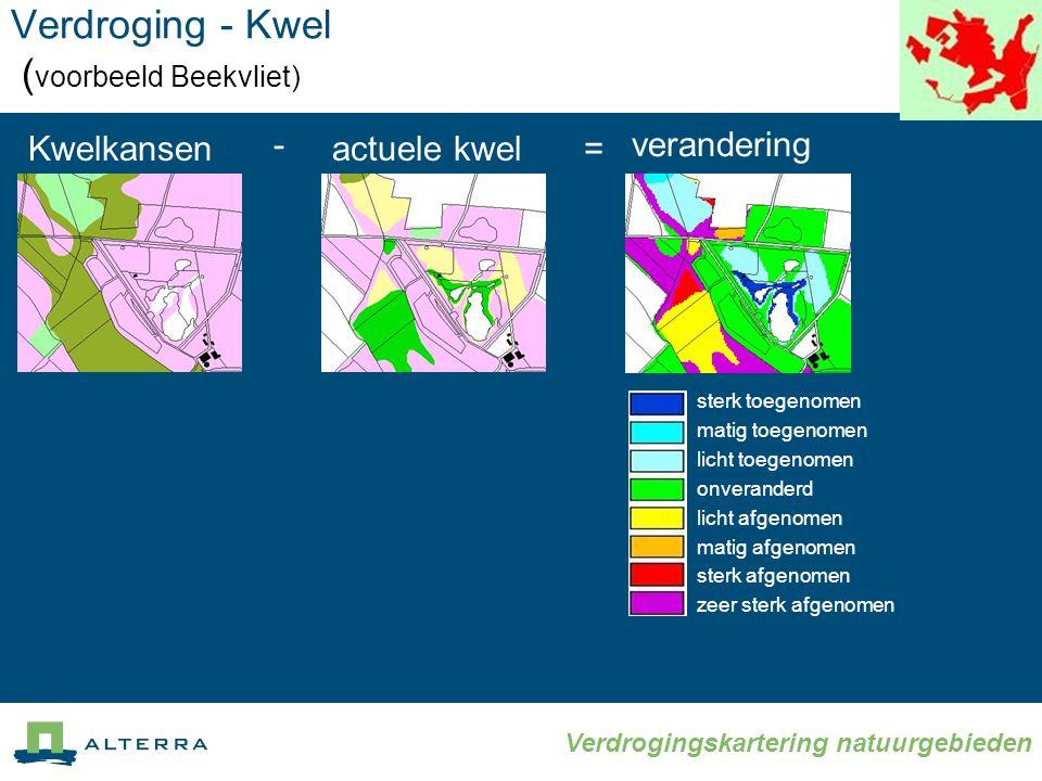 Verdrogingskartering natuurgebieden Verdroging - Kwel ( voorbeeld Beekvliet) Kwelkansen sterk toegenomen matig toegenomen licht toegenomen onveranderd licht afgenomen matig afgenomen sterk afgenomen zeer sterk afgenomen verandering actuele kwel - =