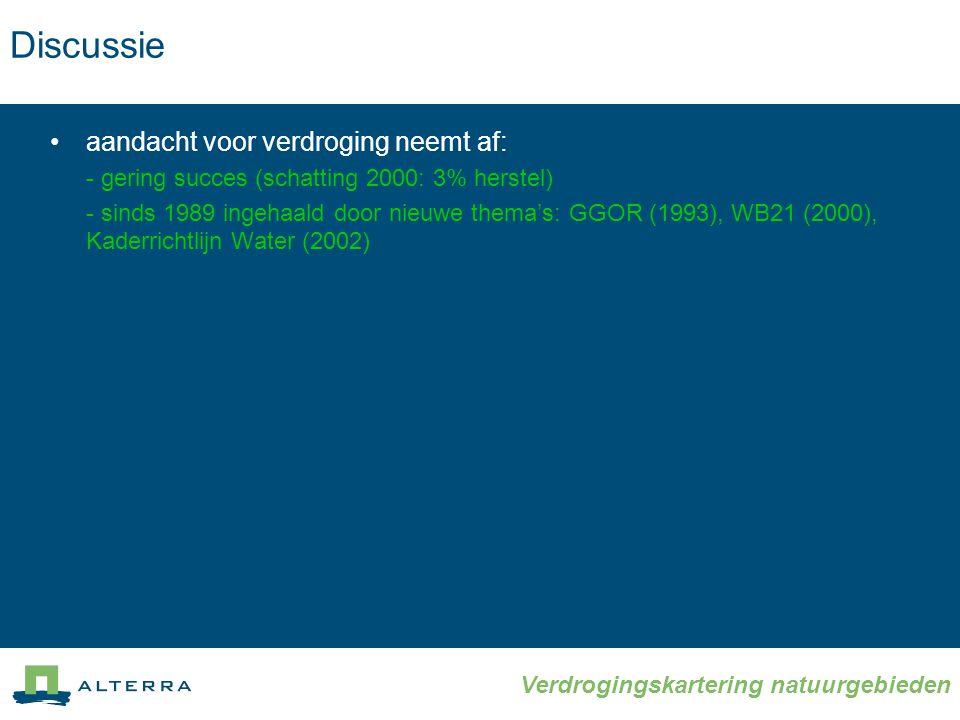 Verdrogingskartering natuurgebieden •aandacht voor verdroging neemt af: - gering succes (schatting 2000: 3% herstel) - sinds 1989 ingehaald door nieuwe thema's: GGOR (1993), WB21 (2000), Kaderrichtlijn Water (2002) Discussie