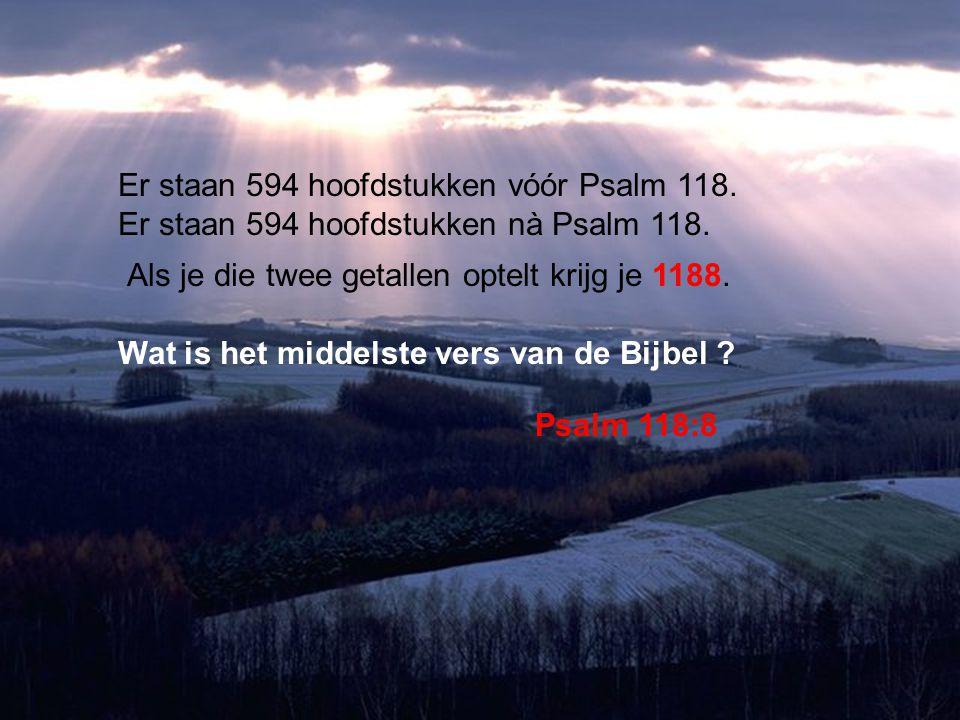 Er staan 594 hoofdstukken vóór Psalm 118.Er staan 594 hoofdstukken nà Psalm 118.