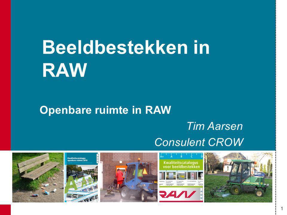 1 Beeldbestekken in RAW Openbare ruimte in RAW Tim Aarsen Consulent CROW