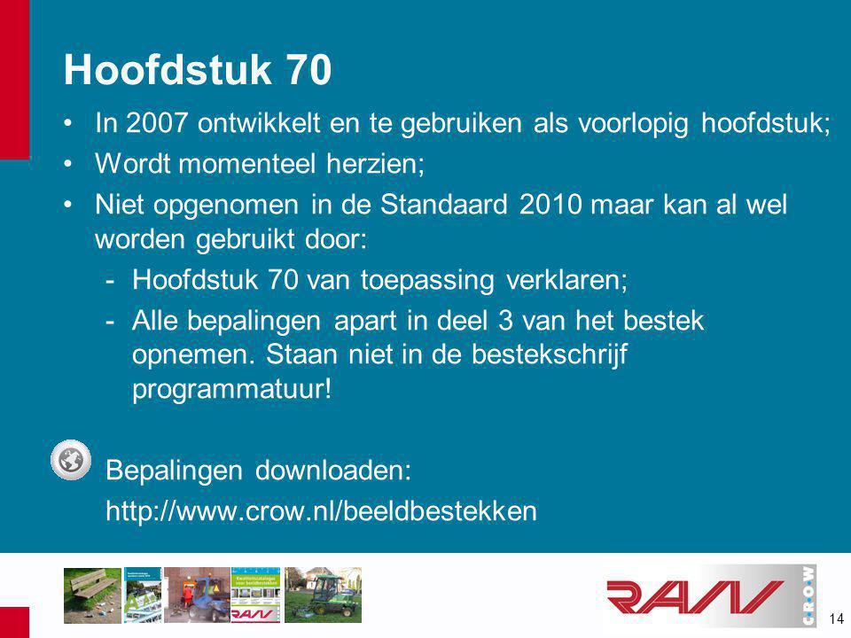 14 Hoofdstuk 70 •In 2007 ontwikkelt en te gebruiken als voorlopig hoofdstuk; •Wordt momenteel herzien; •Niet opgenomen in de Standaard 2010 maar kan a