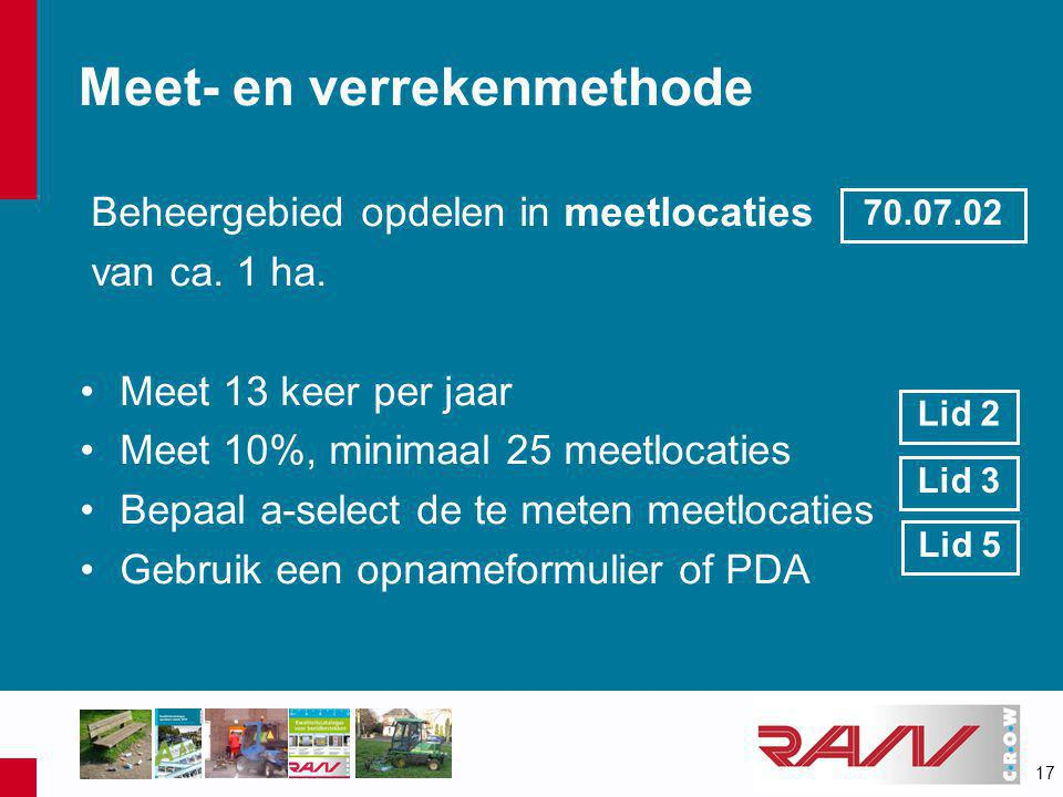 17 Meet- en verrekenmethode Beheergebied opdelen in meetlocaties van ca.