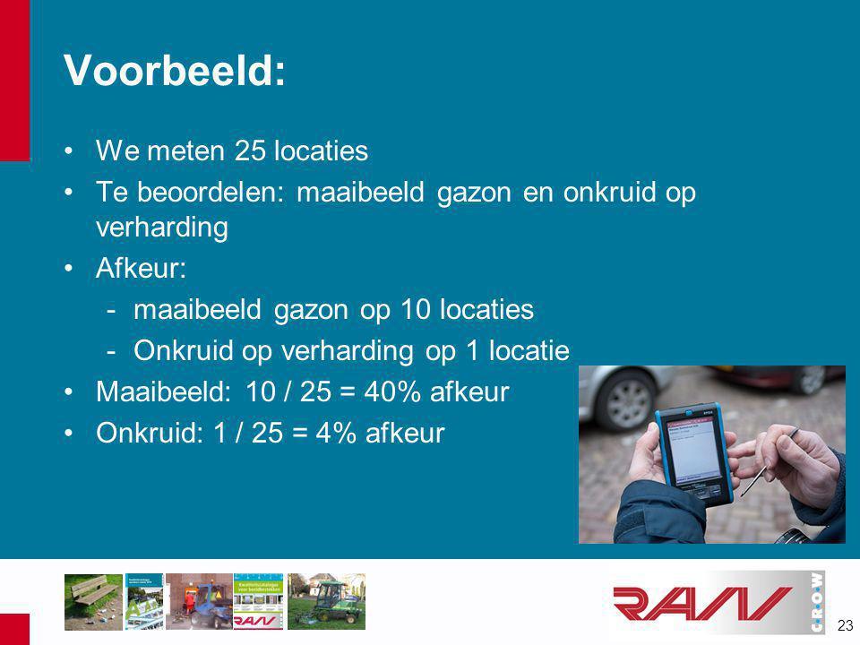 23 Voorbeeld: •We meten 25 locaties •Te beoordelen: maaibeeld gazon en onkruid op verharding •Afkeur: -maaibeeld gazon op 10 locaties -Onkruid op verh