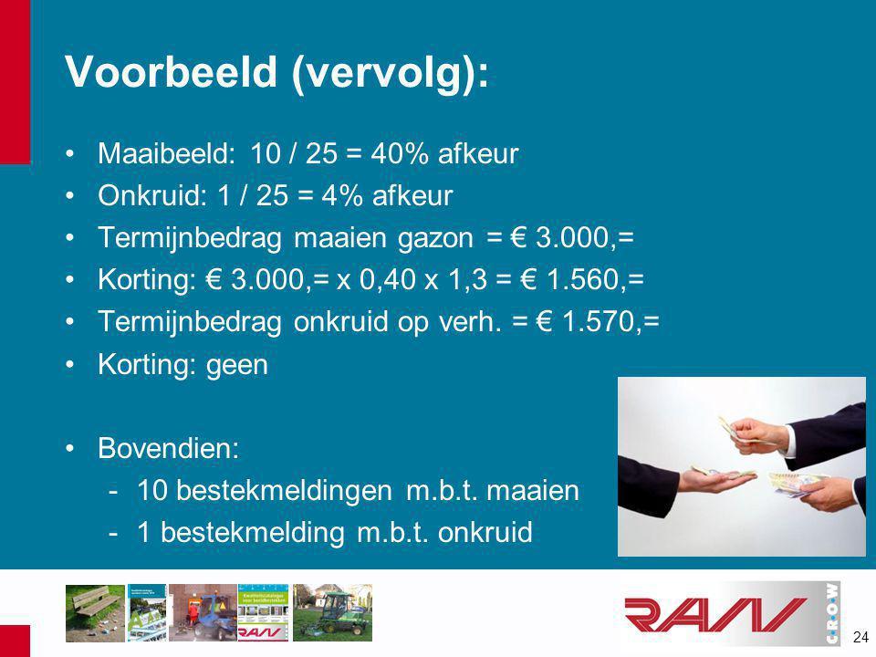 24 Voorbeeld (vervolg): •Maaibeeld: 10 / 25 = 40% afkeur •Onkruid: 1 / 25 = 4% afkeur •Termijnbedrag maaien gazon = € 3.000,= •Korting: € 3.000,= x 0,