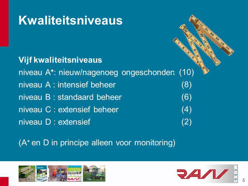 5 Kwaliteitsniveaus Vijf kwaliteitsniveaus niveau A + : nieuw/nagenoeg ongeschonden niveau A : intensief beheer niveau B : standaard beheer niveau C : extensief beheer niveau D : extensief (A + en D in principe alleen voor monitoring) -(10) -(8) -(6) -(4) -(2)