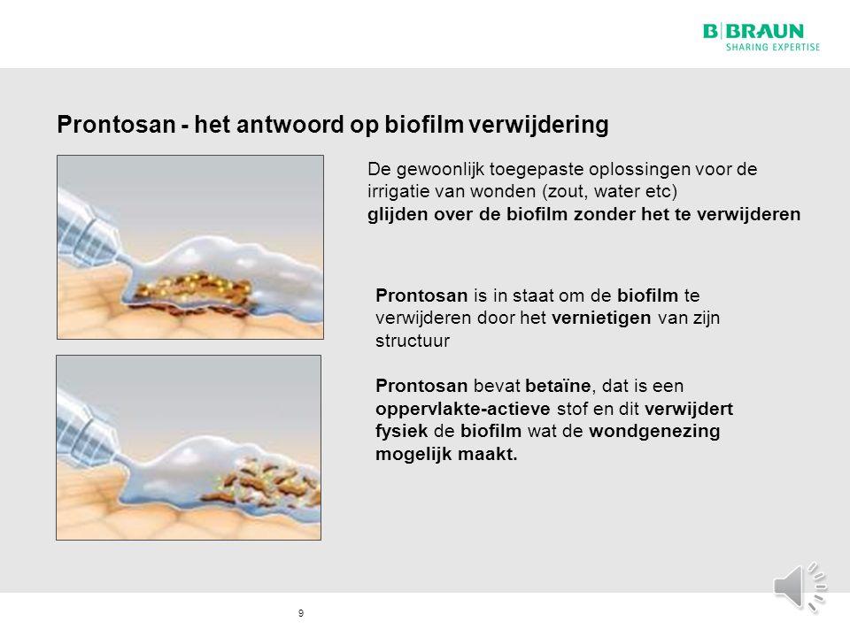 Prontosan - het antwoord op biofilm verwijdering 9 De gewoonlijk toegepaste oplossingen voor de irrigatie van wonden (zout, water etc) glijden over de