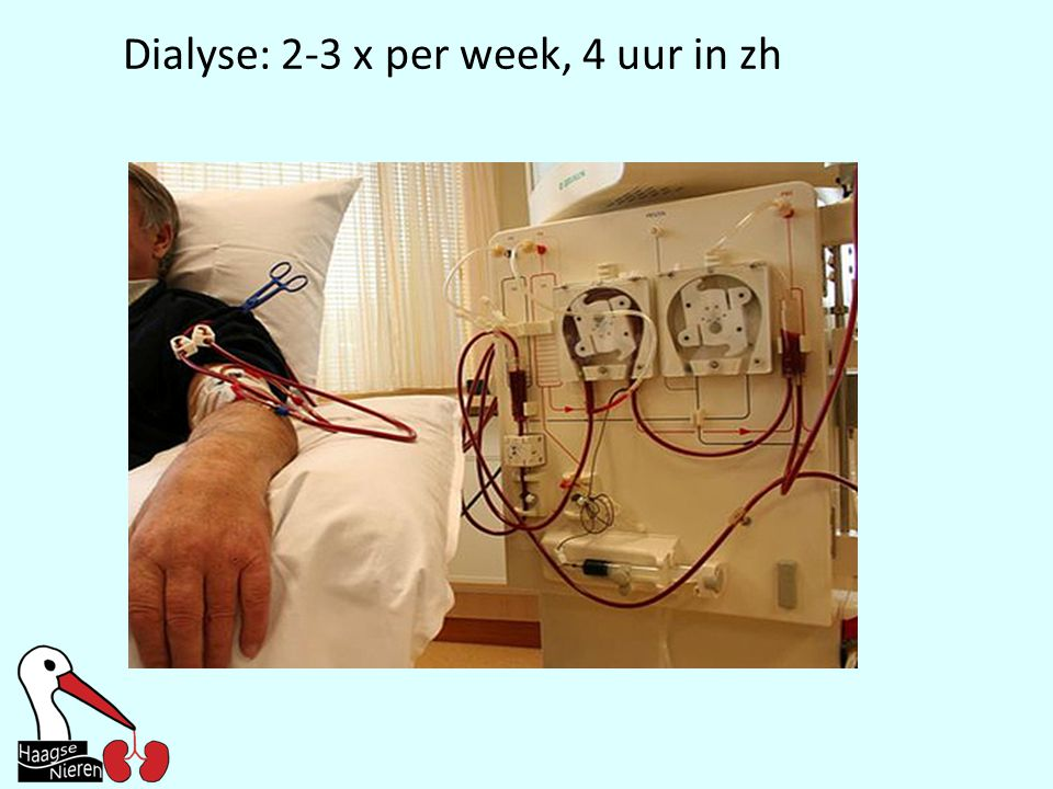 Dialyse: 2-3 x per week, 4 uur in zh