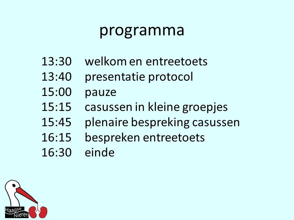 programma 13:30welkom en entreetoets 13:40presentatie protocol 15:00pauze 15:15casussen in kleine groepjes 15:45plenaire bespreking casussen 16:15besp