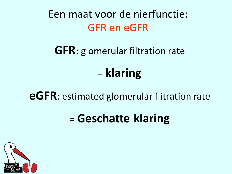 Een maat voor de nierfunctie: GFR en eGFR GFR : glomerular filtration rate = klaring eGFR : estimated glomerular flitration rate = Geschatte klaring