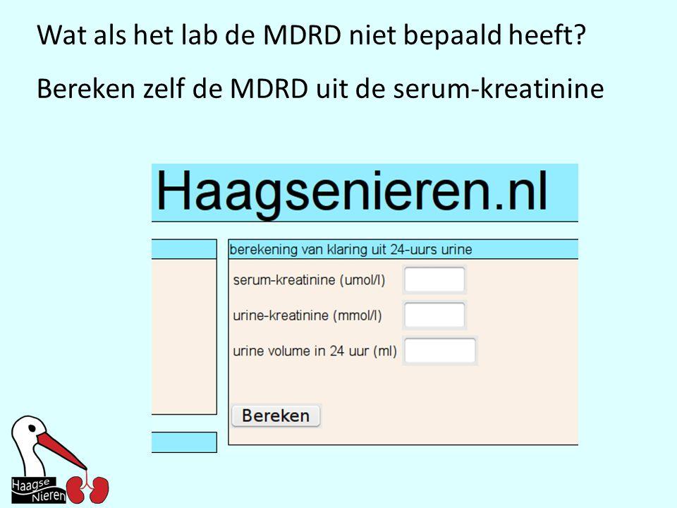 Wat als het lab de MDRD niet bepaald heeft? Bereken zelf de MDRD uit de serum-kreatinine