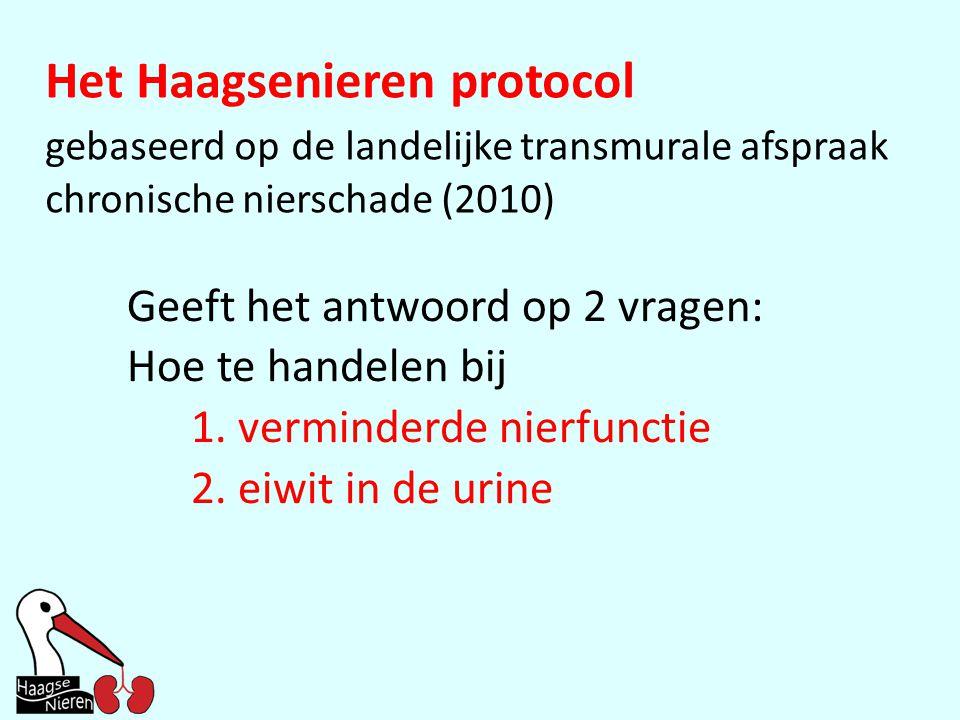 Geeft het antwoord op 2 vragen: Hoe te handelen bij 1. verminderde nierfunctie 2. eiwit in de urine Het Haagsenieren protocol gebaseerd op de landelij