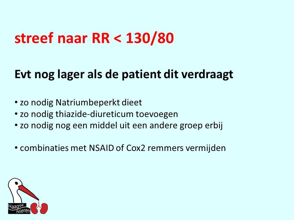 streef naar RR < 130/80 Evt nog lager als de patient dit verdraagt • zo nodig Natriumbeperkt dieet • zo nodig thiazide-diureticum toevoegen • zo nodig nog een middel uit een andere groep erbij • combinaties met NSAID of Cox2 remmers vermijden