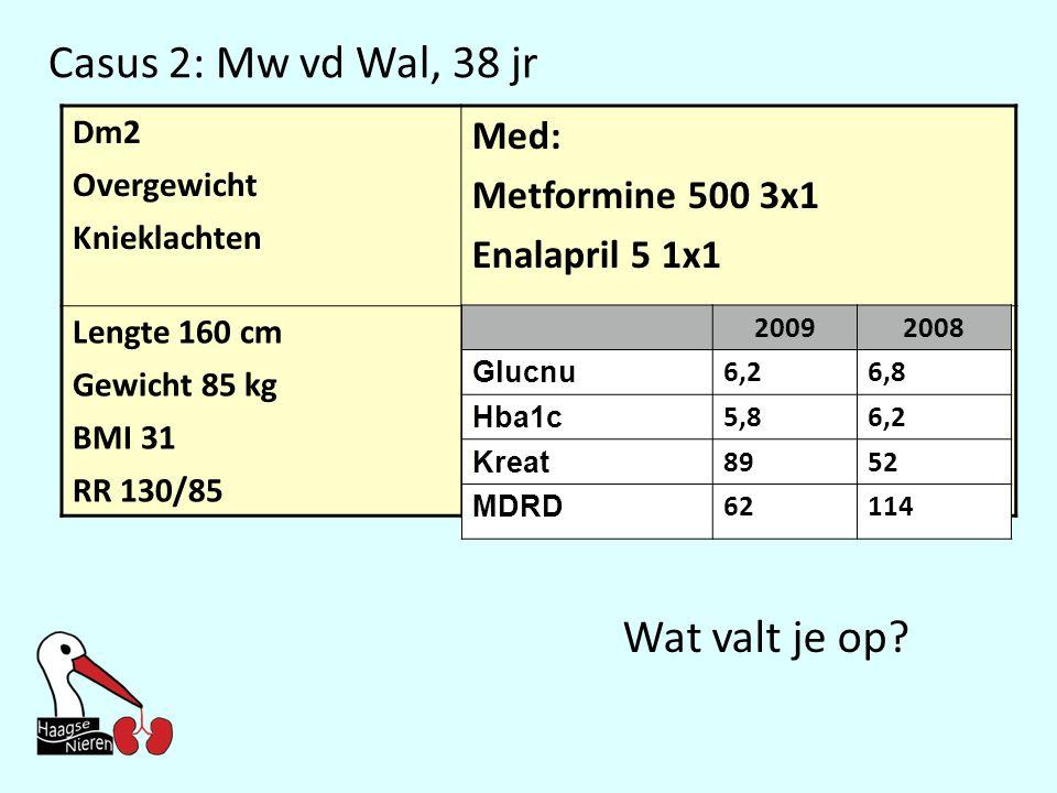 Casus 2: Mw vd Wal, 38 jr Dm2 Overgewicht Knieklachten Med: Metformine 500 3x1 Enalapril 5 1x1 Lengte 160 cm Gewicht 85 kg BMI 31 RR 130/85 20092008 Glucnu 6,26,8 Hba1c 5,86,2 Kreat 8952 MDRD 62114 Wat valt je op?