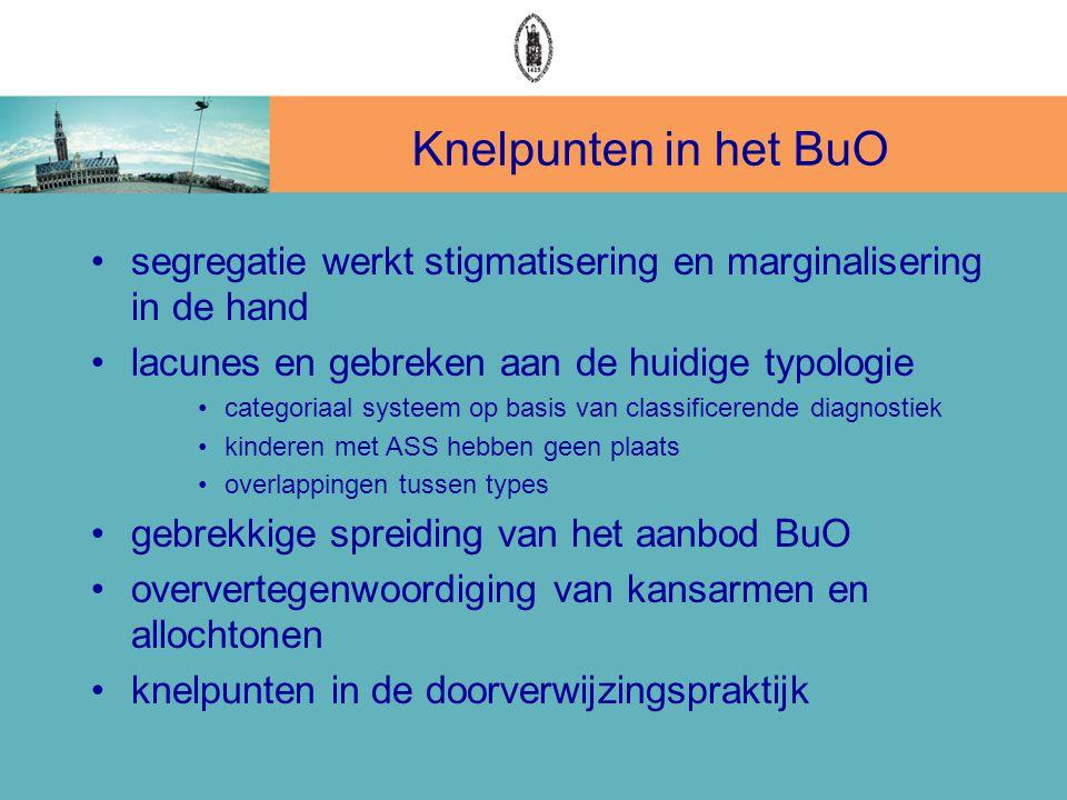 Knelpunten in het BuO •segregatie werkt stigmatisering en marginalisering in de hand •lacunes en gebreken aan de huidige typologie •categoriaal systee